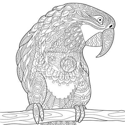 Zentangle Stilisierte Cartoon Papagei Macaw Isoliert Auf Weissem