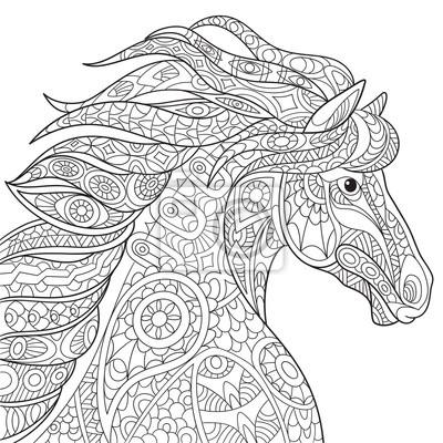 Zentangle stilisierte cartoon pferd (mustang), isoliert auf weißem ...