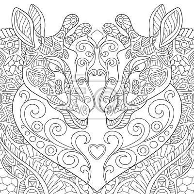 Zentangle stilisierte zwei karikatur reizende giraffen mit einem ...