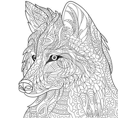 Bild Zentangle Stilisierten Cartoon Wolf Isoliert Auf Weißem Hintergrund