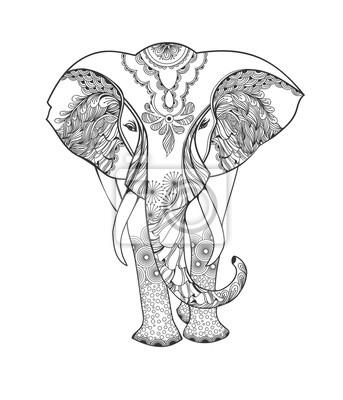 Zentangle Tier Stilisierte Fantasie Gemusterten Elefanten