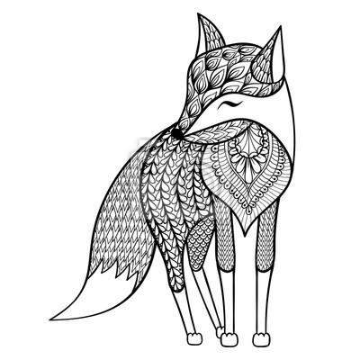 Zentangle Vektor Glucklich Fox Fur Erwachsene Anti Stress
