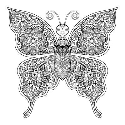 Zentangle Vektor Schmetterling Für Erwachsene Anti Stress