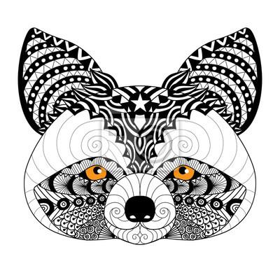 Zentangle Waschbär Für Ausmalbilder Für Erwachsene Tattoo Logo