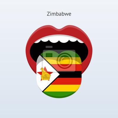 Zimbabwe Sprache. Abstrakt menschliche Zunge.