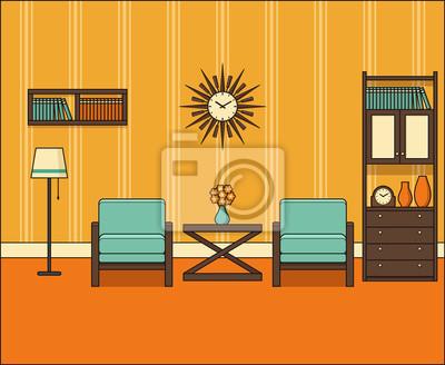 Zimmer in flachem design. retro wohnzimmer interieur 60er jahre ...
