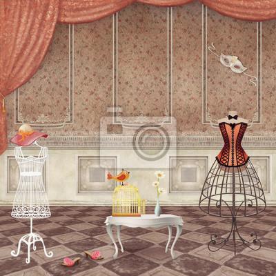 Zimmer mit Vintage Mode Mannequins