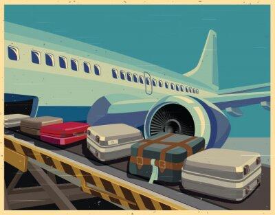 Bild Zivil-Flugzeug und Gepäck altes Plakat