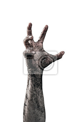 Bild Zombie hand dirty with soil isolated on white background