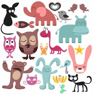 Bild Zufällige Reihe von verschiedenen lustige Tiere