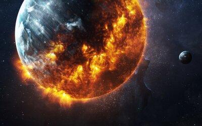 Bild Zusammenfassung apokalyptischen Hintergrund - brennenden und explodierenden Planeten. Diese Bildelemente von der NASA eingerichtet