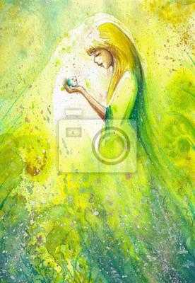 Zusammenfassung Aquarell Illustration, die ein Porträt einer Frau-Frühling
