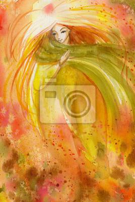 Zusammenfassung Aquarell Illustration, die ein Porträt einer Frau-Herbst