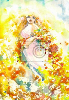 Zusammenfassung Aquarell Illustration, die ein Porträt einer Frau-Sommer