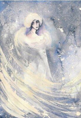 Bild Zusammenfassung Aquarell Illustration, die ein Porträt einer Frau-Winter