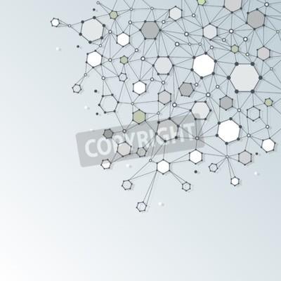 Bild Zusammenfassung Dna Molekül Struktur mit Polygon auf hellgrau Farbe Hintergrund. Vektor-Illustration der Kommunikation - Netzwerk für futuristische Technologie-Konzept