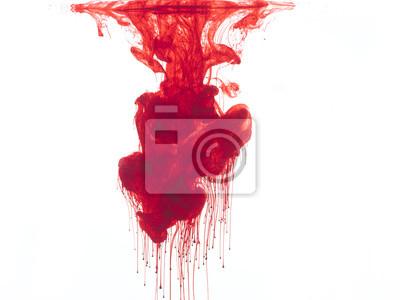Bild Zusammenfassung Form von Blut oder rote Farbe im Wasser, isoliert auf weißem Hintergrund.