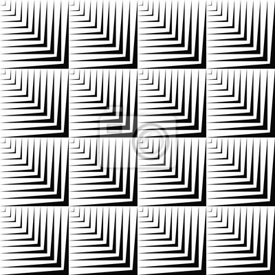 Zusammenfassung geometrische nahtlose Muster. Wiederholbare Vektor-Design mit Quadraten und Streifen, optische Illusion Illustration