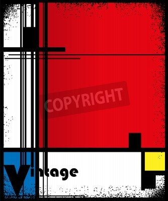 Bild Zusammenfassung Hintergrund im Stil eines Kubismus, rot, blau, gelb Quadrate