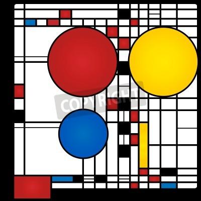Bild Zusammenfassung Hintergrund im Stil eines Kubismus, rot, blau, gelb Quadrate und Runden