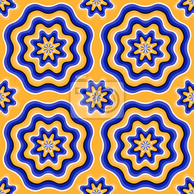 Zusammenfassung nahtlose Muster der Phantasie Blumen mit optischer Täuschung der Bewegung. Swatch ist beigefügt