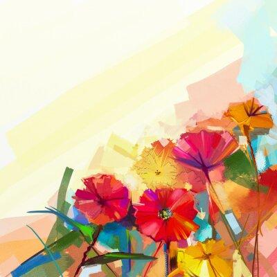 Bild Zusammenfassung Ölgemälde von Frühlingsblumen. Stilleben von gelben und roten Gerbera-Blume. Bunte Blumenstrauß-Blumen mit hellgrün-blauem Farbenhintergrund. Handgemalte florale moderne Impressionista