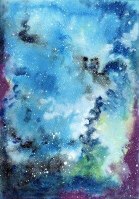 Bild Zusammenfassung Raum Aquarell Hintergrund mit Sternenhimmel und Gas Wolken