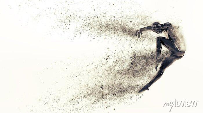 Bild Zusammenfassung schwarzen Kunststoff menschlichen Körper Mannequin mit Streuung Partikel auf weißem Hintergrund. 3D-Rendering-Abbildung