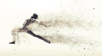 Zusammenfassung schwarzen Kunststoff menschlichen Körper Mannequin mit Streuung Partikel auf weißem Hintergrund. Action-Tanz-Ballett-Pose. 3D-Rendering-Abbildung