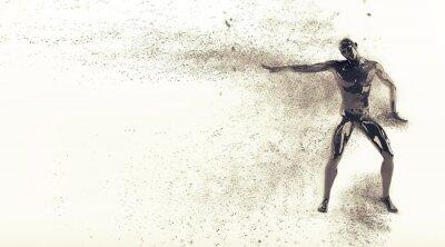 Zusammenfassung schwarzen Kunststoff menschlichen Körper Mannequin mit Streuung Partikel auf weißem Hintergrund. Aktion Breakdance elektrische Pose. 3D-Rendering-Abbildung