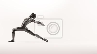 Zusammenfassung schwarzen Kunststoff menschlichen Körper Mannequin über weißem Hintergrund. Action-Tanz-Ballett-Pose. 3D-Rendering-Abbildung