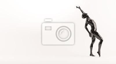 Zusammenfassung schwarzen Kunststoff menschlichen Körper Mannequin über weißem Hintergrund. Action-Tanz-Pose. 3D-Rendering-Abbildung