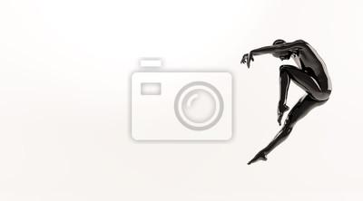 Zusammenfassung schwarzen Kunststoff menschlichen Körper Mannequin über weißem Hintergrund. Action-Tanz springen Ballett-Pose. 3D-Rendering-Abbildung