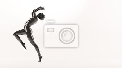 Zusammenfassung schwarzen Kunststoff menschlichen Körper Mannequin über weißem Hintergrund. Action und Springen posieren. 3D-Rendering-Abbildung