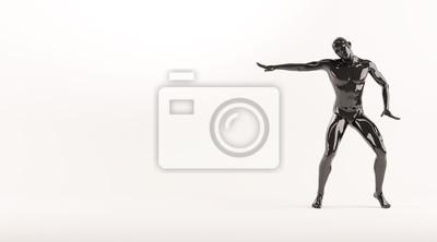 Zusammenfassung schwarzen Kunststoff menschlichen Körper Mannequin über weißem Hintergrund. Aktion Breakdance elektrische Pose. 3D-Rendering-Abbildung