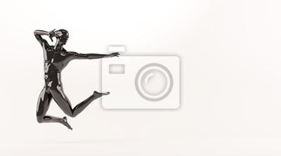 Zusammenfassung schwarzen Kunststoff menschlichen Körper Mannequin über weißem Hintergrund. Aktion Springen posieren. 3D-Rendering-Abbildung