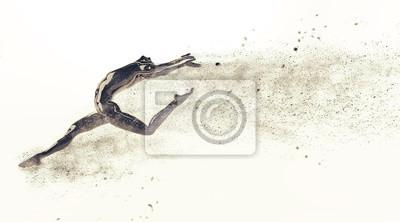 Zusammenfassung schwarzen Kunststoff menschlichen Körper Schaufensterpuppe Figur mit streuenden Teilchen auf weißem Hintergrund. Action-Tanz-Ballett-Pose. 3D-Rendering-Abbildung