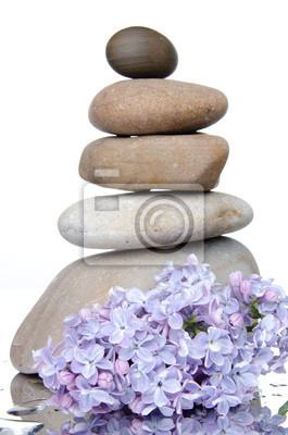 Bild Zusammensetzung von gestapelten Steinen mit lila