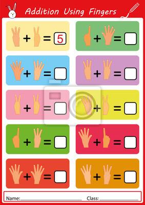 Zusätzlich mit den fingern, mathe arbeitsblatt für kinder ...