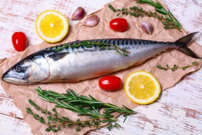 Bild Zutaten für das Backen Scomber Filets, gehören rohe Makrele, Zitrone, Knoblauch, Rosmarin