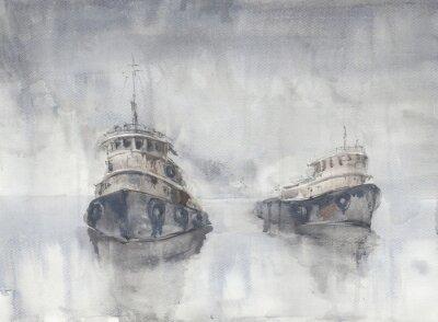 Bild Zwei Boote im Meer. Nebeliges Wetter Regen. Meer. Fishind Schiffe.