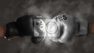 Zwei Boxhandschuhe symbolisieren den Kampf um eine Entscheidung