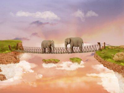 Bild Zwei Elefanten auf einer Brücke in den Himmel