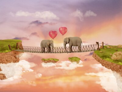 Bild Zwei Elefanten auf einer Brücke in den Himmel mit Luftballons. Illustration