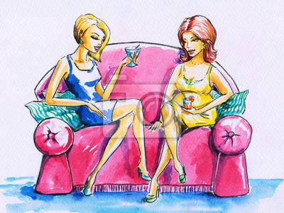 Zwei Frauen auf einem rosa Sofa.