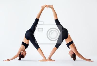 Retro Kühlschrank Yoga : Zwei junge frauen die partner yoga asana nach unten gerichtet