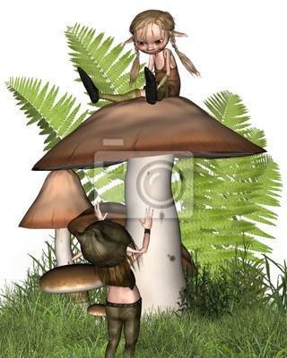 Zwei kleine Kobolde, die auf einem Pilz
