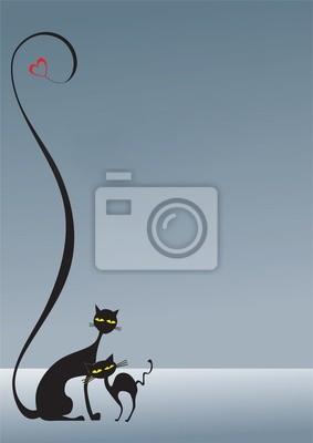 Zwei liebende schwarze Katzen auf dem grauen Hintergrund sowie Herz, decorat