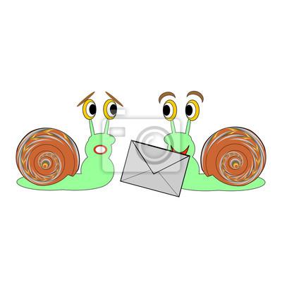 Zwei lustige Cartoon-Schnecken mit einem Buchstaben