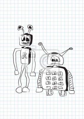 Zwei lustige dumme Roboter in doodle Stil - Vektor